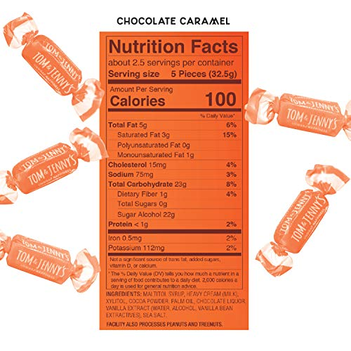 Tom & Jenny's Sugar Free Soft Caramel Candy with Chocolate and Sea Salt - Low Net Carb Keto Chocolate Candy - with Xylitol and Maltitol - (Chocolate Caramel, 1-pack) 6