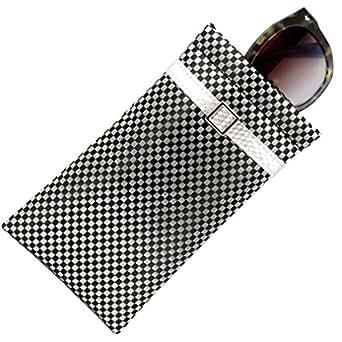 MyEyeglassCase Checkered Soft Sunglasses Case Soft Eyeglass Case Squeeze Top Xl Eyeglass Case With Cleaning Cloth, Medium To Oversized Frames Glasses Case, Smart Phone Case Large Black/White