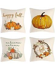 Thanksgiving Kussenhoes, pompoen, decoratieve kussenovertrek, herfst, esdoornblad, pompoen, vierkante kussenhoes, decoratieve outdoor kussenslopen voor sofa, bed, slaapkamer