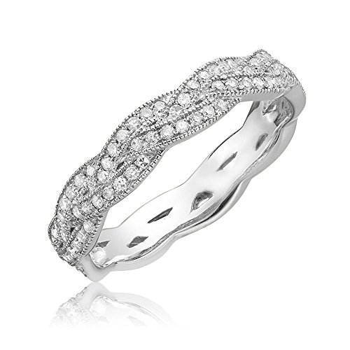 (Jewels by Erika 14K Gold and Diamond Stackable Ring (0.20TDW,G-H Color,I1 Clarity) Size 6.5 (White-Gold))