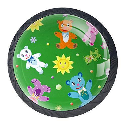 DEYYA Childish Teddy Bears Crystal Glass Drawer Knob Pull Handle 30mm Ergonomic Circle Cabinet Handle with Screws 4 -