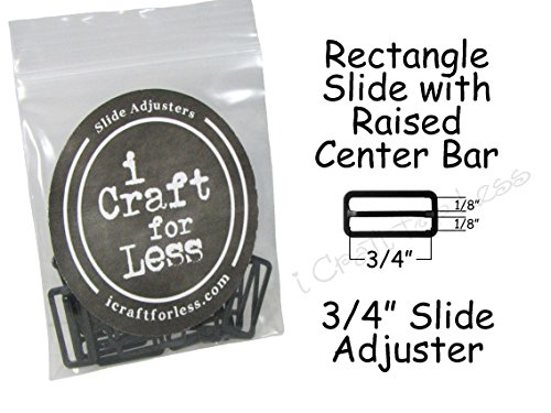 3/4 Bow Tie Slide Adjusters/Tri Glides/Tri Bars for Adjustable Straps - Black (Qty 50)