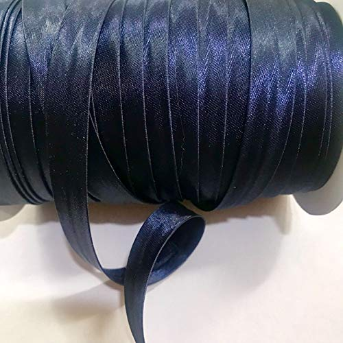 12 Yards 5/8 inch Single Fold Satin Bias Tape 24 Different Colors (Navy Blue)