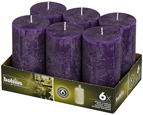 BOLSIUS 6 Pack. Rustic Purple Pillar Wedding Party Candles 130 X 68mm (Aprox. 5 X 2.75 Inches) ()