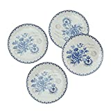 Finecasa New Bone China 8 inch Moonlight Platter Bread/Cake Plate Chinese Style Blue Dream Series set of 4