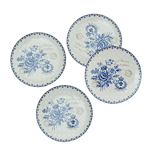 - Finecasa New Bone China 8 inch Platter Bread/Butter Plate Salad/Dessert Chinese Style Blue Dream Series set of 4