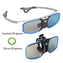 [Blue] Dual Style, Clip-on / Standard, Wireless Active Shutter 3D Glasses Replacement for Epson Projector Eyewear RF ELPGS03, PowerLite Home Pro Cinema