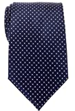 Retreez Modern Mini Polka Dots Woven Microfiber Men's Tie - Navy Blue with White Dots