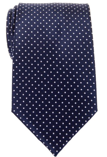 Retreez Modern Mini Polka Dots Woven Microfiber Men's Tie - Navy Blue with White Dots ()