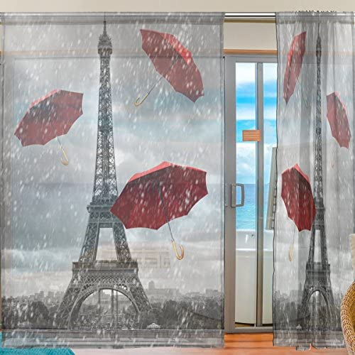 WOZO Custom Romantic Paris Eiffel Tower Sheer Panel Pair Curtains 55″x78″