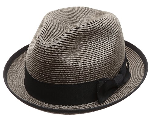 MIRMARU Men's Lightweight Trilby Fedora Short Curled Brim Hat with Removable Feather (F2808,Grey,LXL)