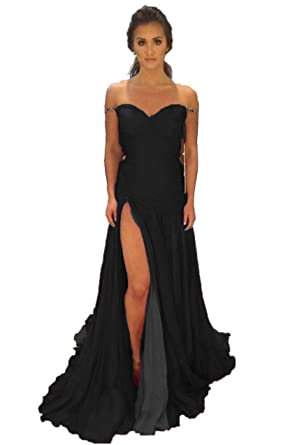 Promworld Womens Sweetheart Evening Dress Split Mermaid Prom Dresses 2018 Black US2