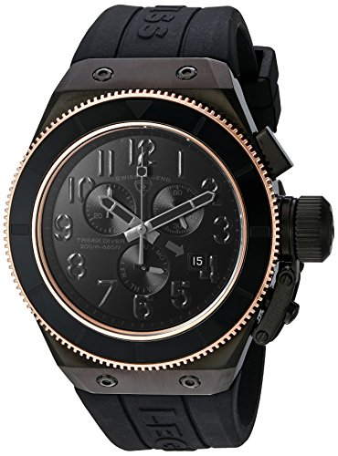 Swiss Legend Men's 'Trimix Diver' Quartz Stainless Steel and Silicone Casual Watch, Color:Black (Model: 13845-BLK-RB) - Swiss Legend Rose Gold Tone Watch