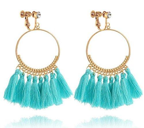 Bohemia Long Dangle Rhinestone Clip on Earrings Tassel Thread for Women Circle Drop Gold Hoop Blue
