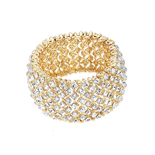 Tennis Rhinestone Stretch Bracelets Adjustable Bling Jewelry Party For Woman Bangle (Gold - Clear)