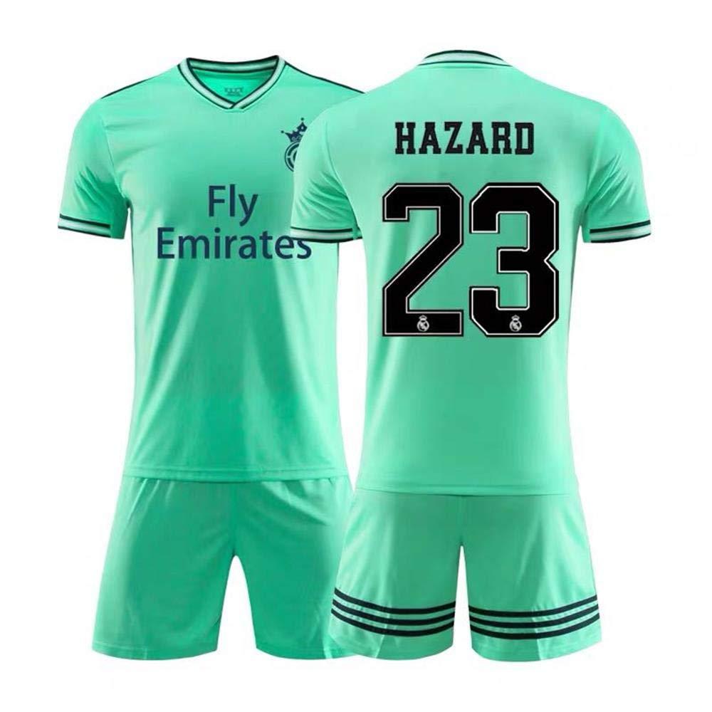 Vert Maillot Dentra/înement Sportif 23Eden Hazard De Chelsea//Real Madrid Gar/çons HANGESS T-Shirt De Football Espagnol Licence Officielle De La Saison 2018-2019 Enfants Hommes Et Femmes