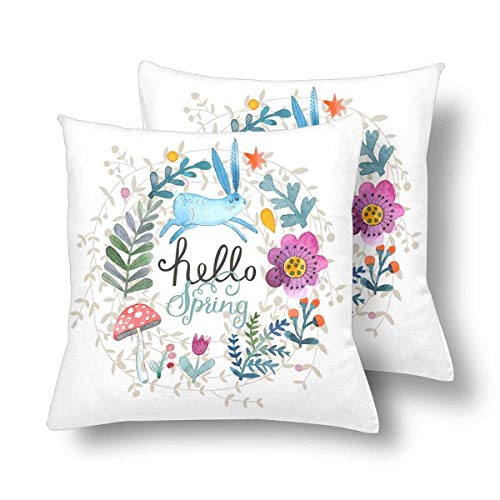 Brushed Canvas Mushroom - CHARMHOME Rabbit Flower Leaf Mushroom Lovely Spring Theme Forest 2-Pack Satin Pillow Covers Square Sofa Couch 18x18inch Pillowcase Brushed Microfiber Bedroom Cushion,