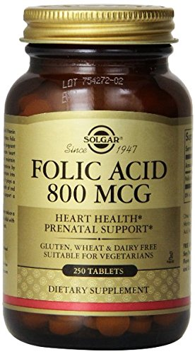 500 Mcg Folic Acid (Solgar Folic Acid Tablets, 800 mcg, 250 Count (Pack Of)