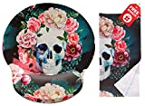 Vintage Sugar Skull Ergonomic Design Girly Cute Mouse Pad with Wrist Rest Hand Support. Round Large Mousing Area. Matching Microfiber Cleaning Cloth for Glasses & Screens. Great for Gaming & Work