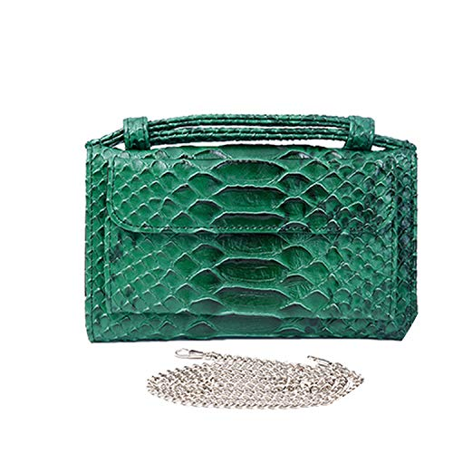 Luxury Genuine Python Leather Hand Bags Cross Body Shoulder Bag Snakeskin Designer Day Clutch Chain Crossbody Bag,Snake Green