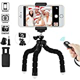 LXZDL iPhone Tripod Phone Tripod, Mini Cell Phone Tripod Camera Stand Holder and Universal Clip for iPhone Stand with Bluetooth Remote and Universal Phone Mount for iOS Android Smartphone Video Tripod