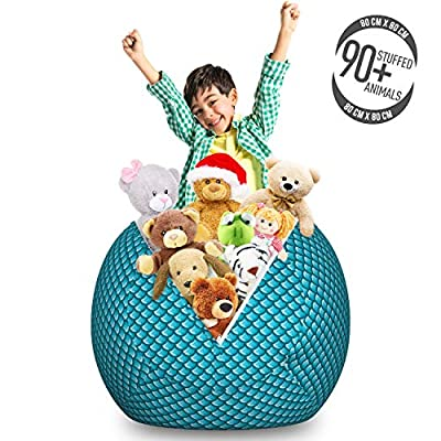 Lunarable Blue Storage Toy Bag Chair, River Fish Scales Pattern Mermaid Shells Ocean Life Nautical Inspiration, Stuffed Animal Organizer Washable Bag for Kids, Large Size, Teal Pale Blue and White: Kitchen & Dining