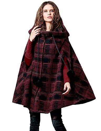 Hooded Vintage Coat (Artka Women's Winter Vintage Hoodie Cape Casual Plaid Wool Coat (Large))