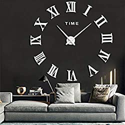 FASHION in THE CITY Mirror Surface 3D DIY Wall Clocks Modern Design Room Decorative Wall Watches (White)