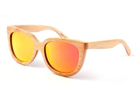 be4249e5e37922 Lunettes de soleil en bois de bambou pour femmes verres jaunes, idéales  comme lunettes de