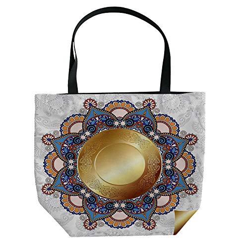 Paisley Brown Needlepoint (iPrint Hand Canvas Bag Shoulder Bag,Gold Mandala,Flourish Pattern with Paisley Botanical Garden Theme Curvy Persian Fashion Decorative,Yellow Brown,3D Print Design.)