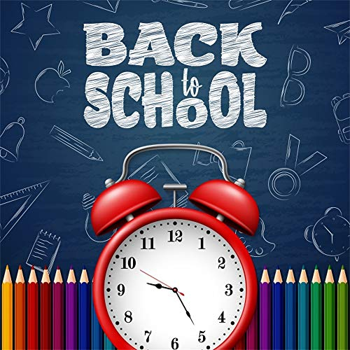 AOFOTO 8x8ft Back to School Theme Backdrop Color Pencils Red Alarm Clock Chalk Written Apples Stars Bells Glasses Notebooks Customized Photography Background Opening Graduation Photo Booth Prop]()