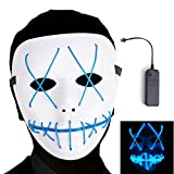 Ansee Scary Mask Halloween Cosplay Led Costume Mask El Wire Light up Mask for Festival Parties (Blue1)
