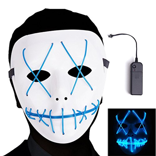 Ansee Scary Mask Halloween Cosplay Led Costume Mask EL Wire Light Up Mask for Festival Parties (Led Purge Light)