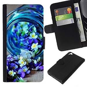 Leather Etui en cuir || HTC Desire 820 || Blue Spring Blooming Naturaleza Purple @XPTECH
