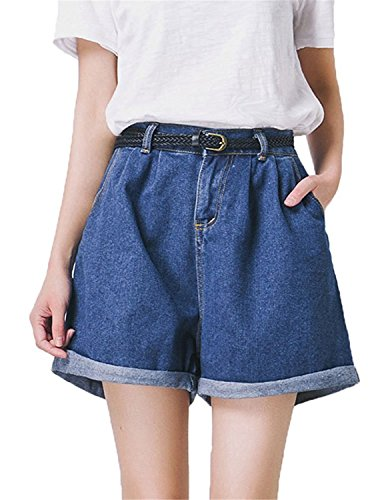 Hathawlyth-Womens-High-Waisted-Denim-Shorts-Rolled-Blue-Jean-Shorts