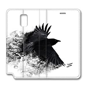 Brain114 Fashion Style Case Design Flip Folio PU Leather Cover Standup Cover Case with Crow 2 Pattern Skin for Samsung Galaxy Note 4