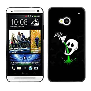 LECELL -- Funda protectora / Cubierta / Piel For HTC One M7 -- Funny Cocktail Skull Death Poison --