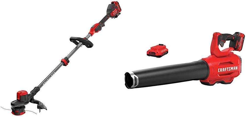 CRAFTSMAN CMCST920D2 V20 Brushless WEEDWACKER Cordless String Trimmer with Quickwind with CMCBL720D2 V20 Handheld Blower