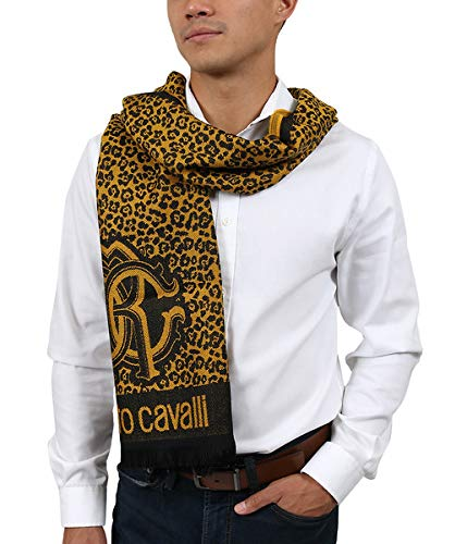 (Roberto Cavalli ESZ056 01004 Mustard Wool Blend Leopard Print Mens Scarf for Mens)