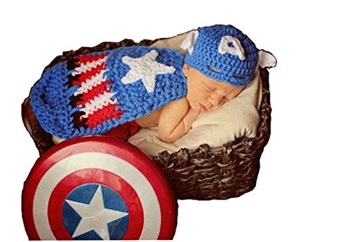 Costumes Captain Baby America (Pinbo Baby Boys Girls Photography Prop Captain America Hat Cover Costume Crochet Knitted)
