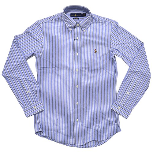 RALPH LAUREN Polo Mens Slim Fit Knit Oxford Buttondown Shirt (XX-Large, Heather Blue Marble) (Polo Ralph Lauren Striped Knit Dress Shirt)