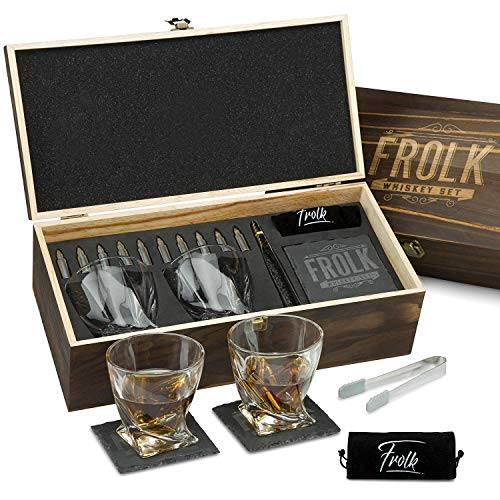 Premium Whiskey Stones Bullets Gift Set for Men - 10 Bullets Chilling Stainless-Steel Whiskey Rocks - 11 oz 2 Large Twisted Whiskey Glasses, Slate Coasters, Tongs - Luxury Set in Real Pine Wood Box