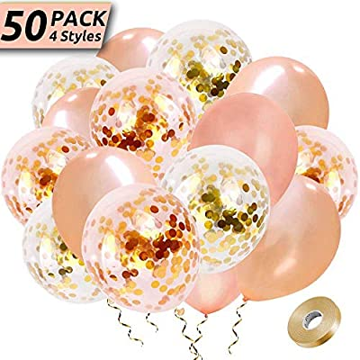 """Rose Gold Balloon Confetti round 11/"""" clear wedding bride engaged ceiling"""