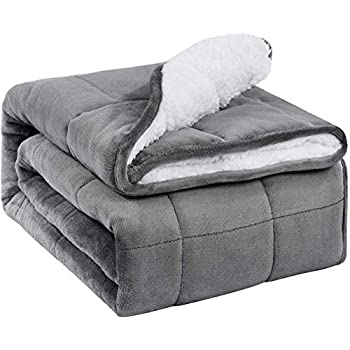 Image of Sivio Sherpa Fleece Weighted Blanket for Adult, 15 lbs Heavy Fuzzy Throw Blanket with Soft Plush Flannel, Reversible Full-Size Super Soft Extra Warm Cozy Fluffy Blanket, 60 x 80 inches, Grey Sivio B0831LYHJ1 Weighted Blankets