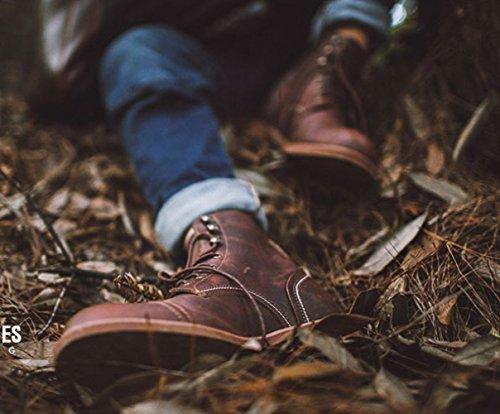 Boots Boots Joker Leather Work marrone Shoes Mens Martin Retro Bgd7qaBw