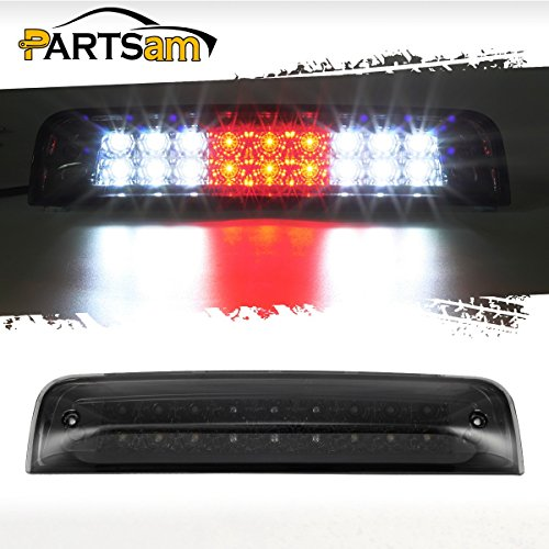 Partsam For 2009-2017 Dodge Ram 1500 2010-2017 Dodge Ram 2500 3500 Red/White 27 LED Smoke Lens Black Housing Tail Rear High Mount 3rd Third Brake Light Cargo Lamp Waterproof