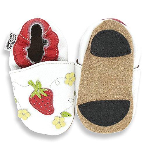 HOBEA-Germany Lauflernschuhe Erdbeere - Pantuflas para bebés weiß