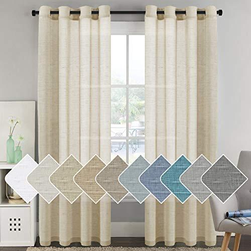 (H.VERSAILTEX Elegant Natural Linen Curtain Panels Energy Efficient Semi - Sheers Linen Curtains/Nickel Grommet Window Treatments Panels/Drapes (Set of 2, Beige, 52