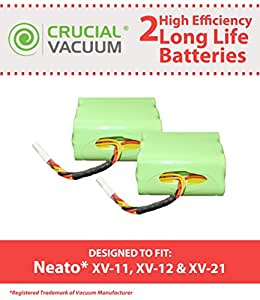 2 Neato Long Life High Efficiency Replacement Batteries; Fits Neato Models XV-11, XV-12, XV-15, XV-21; Part # 945-0005, 205-0001, 945-0006, 945-0024; Designed & Engineered by Crucial Vacuum