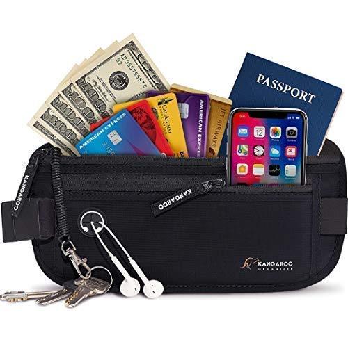 Premium Money Belt for Travel - RFID Blocking Hidden Wallet with Coil Cord Keychain